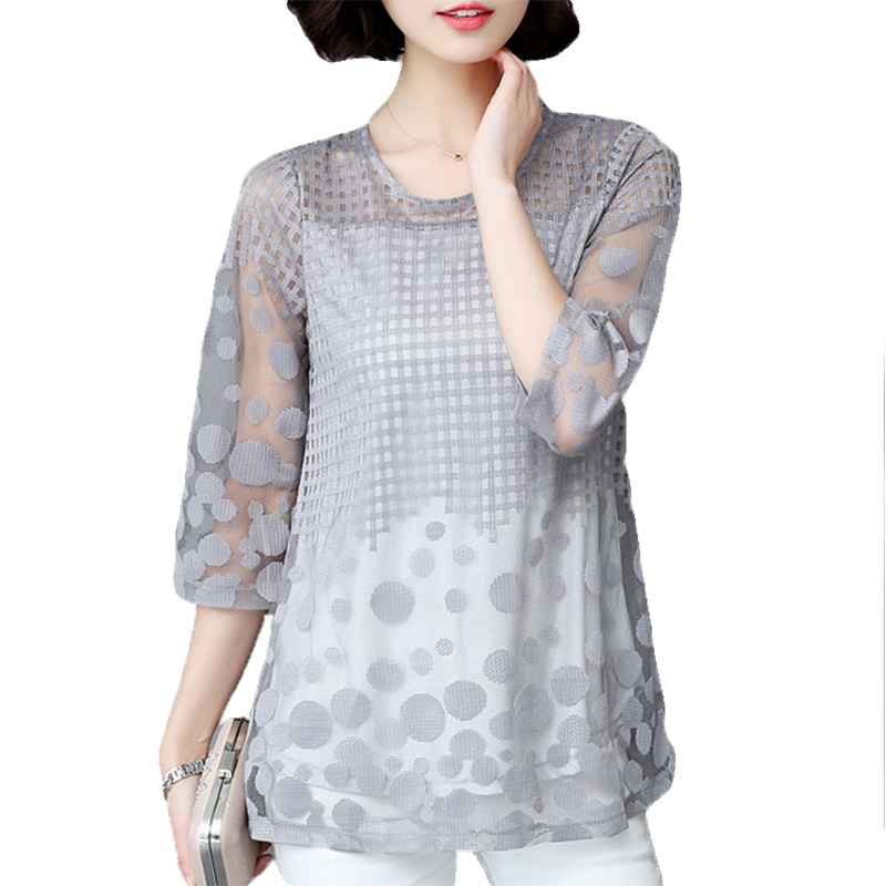 Womens   Blouse     Shirt   3/4 Sleeve Mesh Hollow Out Loose   Blouses   Gray Ladies Tops Blusas Plus Size   Shirts   2019 New