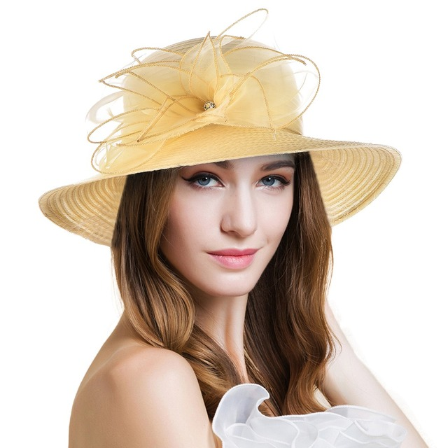 ed163d7587b Women s Wide Brim Sun Hat Nice Solid Floral Kentucky Derby Hat for Women  Lady Church Wedding