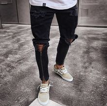 Top quality 2019 Fashion men Casual Jeans men black zipper foot biker locomotive slim Denim hip hop Ripped hole pants цена 2017