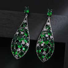 cwwzircons elegant designer green cubic zirconia long leaf drop indian 585 gold earring pendant necklace women jewelry sets t411 Bilincolor fashion green luxury elegant cubic zirconia oval simple geometric drop women earring fashion jewelry 2019