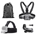 4-IN-1 For Gopro Head Strap Mount+ Chest Belt Strap Harness Mount+Aluminum Thumbscrew+J-Hook for Action Waterproof Cam
