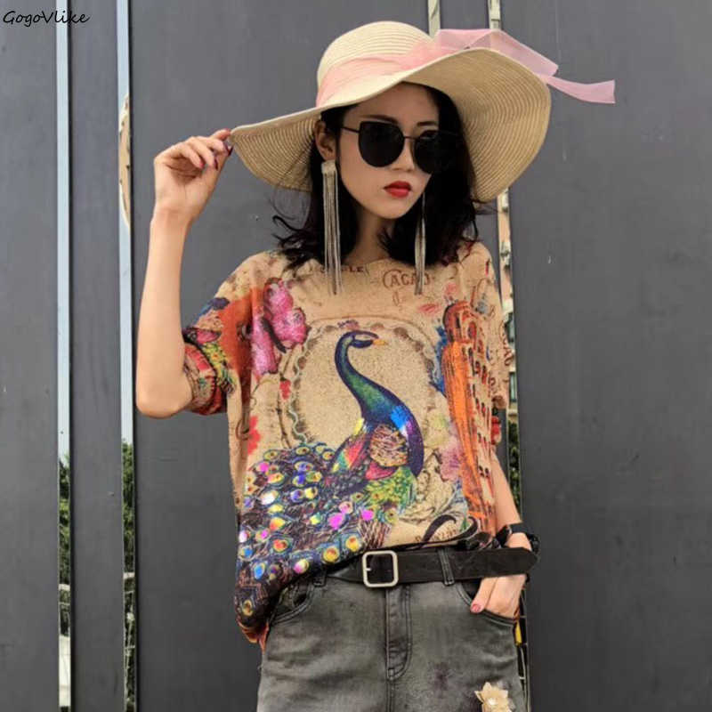 Colorful Peacock Print Sweater Batwing 2019 New Women Vintage Knit Top Loose Sweater Autumn Spring Korean