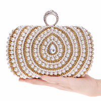 2018 Women Evening Bags Diamonds Finger Rings Small Purse Day Clutches Handbags Silver/Gold/Black Pearl Wedding Bags