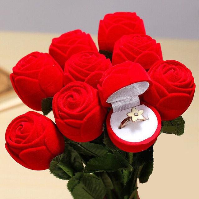 Rot Romantische Geschenk Ring Fall Für Freundin Red Rose Form