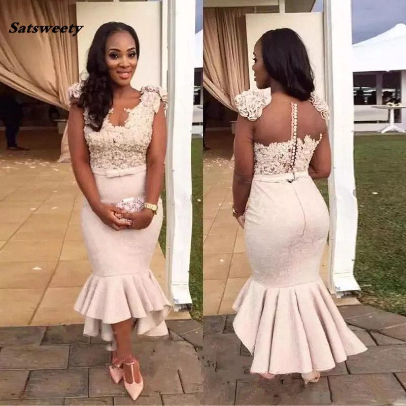 2019 African Sexy Deep V-Neck Satin Mermaid   Bridesmaid     Dresses   Sheer Back Short Sleeves Cheap Plus Size Arabic Long P Gown