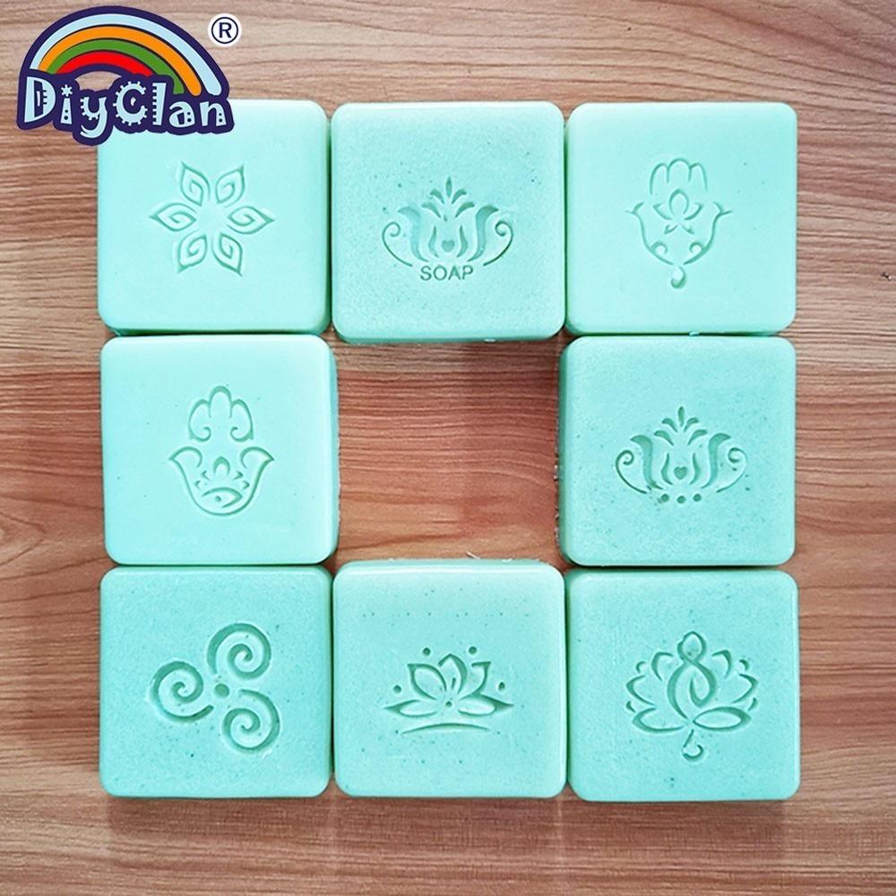 Hamsa Handmade Soap Making Stamp Lotus Natural Clear Diy Natural Organic Glass Soap Seal Buddhism Pattern Resin Chapters Custom