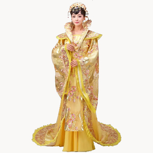 Image 4 - High Quality Designer Chinese ancient Tang dynasty queen Tailing Costume Guzheng Show Clothing Women Hanfu Chinese Photography