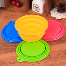 5pcs/lot 13cm Environmental Silica Gel Round Foldable Food Bowls For Small Dog little Cat Pets Supplies Color Send At Random