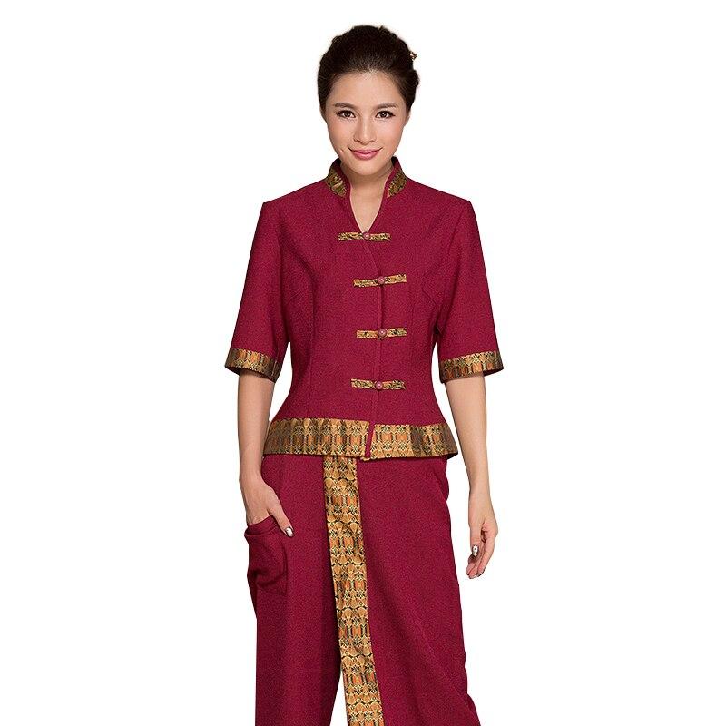 Free shipping thai massage uniform female beauty club for Uniform thai spa