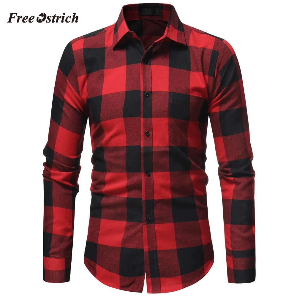Free Ostrich Men's Plaid Fashion Shirt For Autumn And Winter Long Sleeve Casual Blouse With Button Comfort Slim Brand Tops