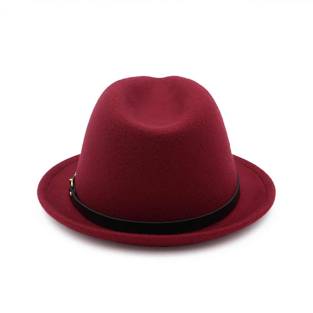 42ef3dda69d ... Fashion Wool felt hats Women Men Fedora Elegant Gentleman s top Hat  Lady Autumn Winter Godfather Church ...