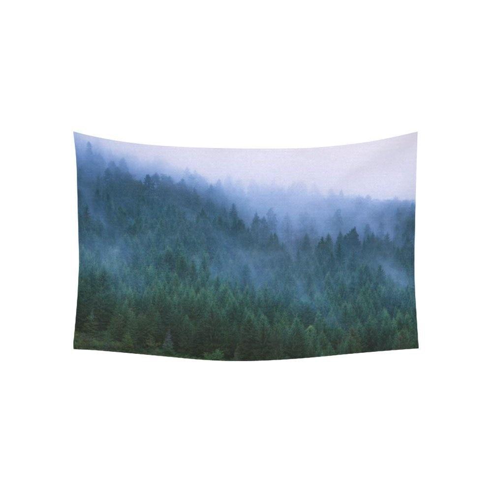 Green Tree Landscape Wall Art Home Decor, Fog on Conifers, National Park Tara Tapestry Wall Hanging Art