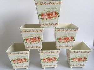 Image 2 - 6Pcs/Lot D10*H10CM Square Metal Planter Iron flower pots Wedding decorative flower Tub
