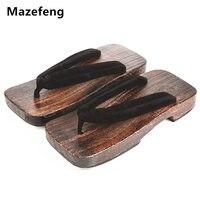 جديد الصيف منصة الأحذية الأزياء الذكور طباعة الخشب الرجال geta الصنادل الرجال الصين جيتا classial قباقيب خشبية النعال الرجال الوجه يتخبط