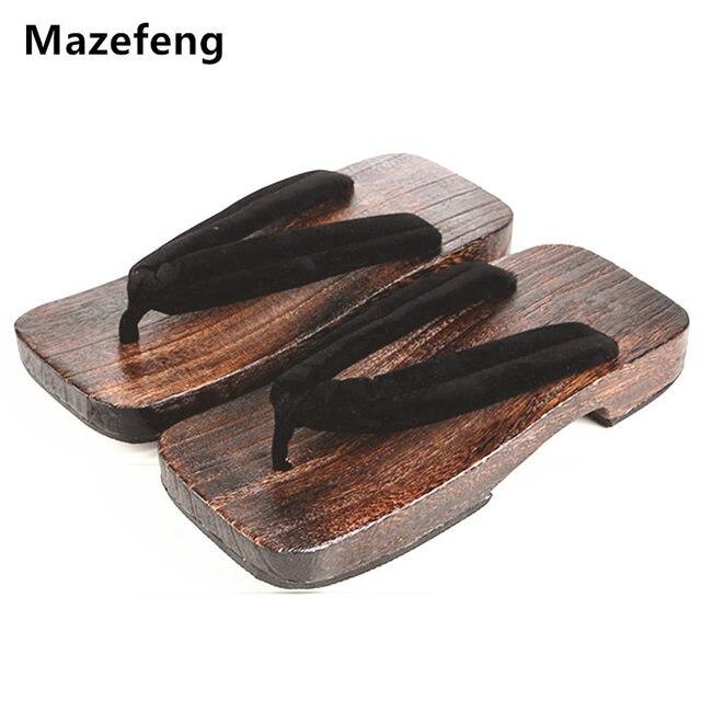 34f64111fc Nova Moda Masculina Verão Sapatos de Plataforma de Impressão Dos Homens de  Madeira geta sandálias Homens