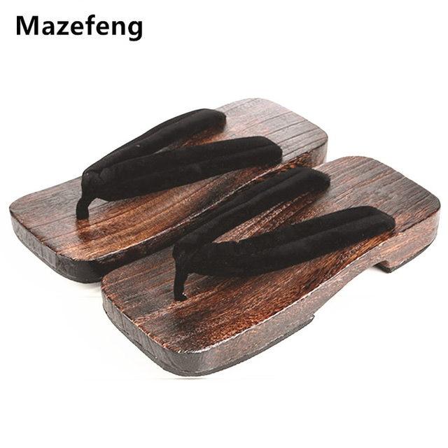 e1d2dfa7eeace Nowa moda lato męskie buty na koturnie druku drewna mężczyźni geta sandały  męskie chiny Geta drewniaki