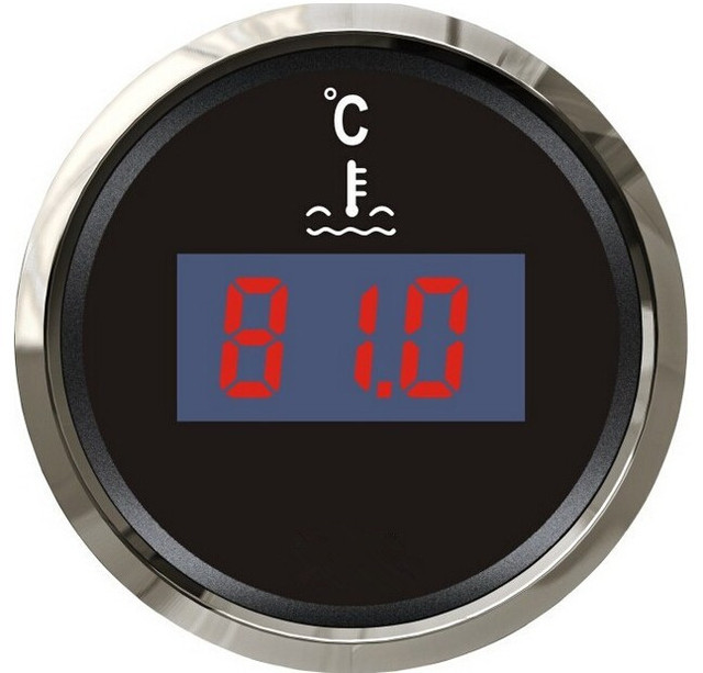 1pc digital water thermometer water temperature gauge 12v/24v fit for boat automobile with sensor black color