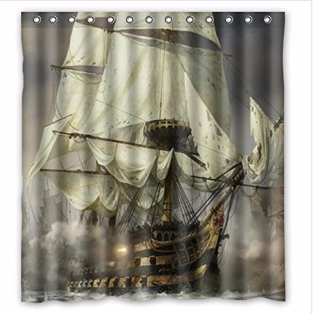 Jolly roger shower curtain - Cool Pirate Ship Custom Bathroom Shower Decorative Polyester Shower Curtain Hot Sale Custom Shower Curtain