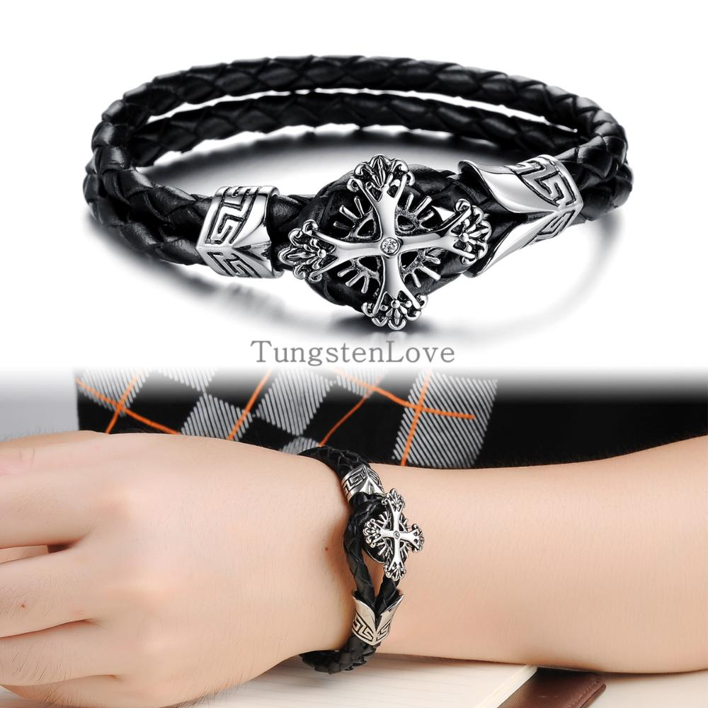 21 5cm Double Layers Black Leather Warp Bracelet Mens Bracelets 2017 Vintage Cross Carved Braided Wristband In Charm From Jewelry