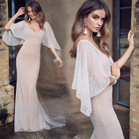 Lace Wedding Dress Embroidered Vestido de Noiva Deep V neck White Slim Fit Dress Wedding Gowns Illusion Bridal Dress