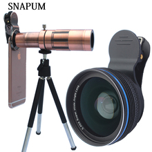 Discount! SNAPUM mobile phone 12x 18x 20x telescope + 0.45x wide lens + 10x macro 3 in 1 lenses For Huawei oppo vivo iphone samsung