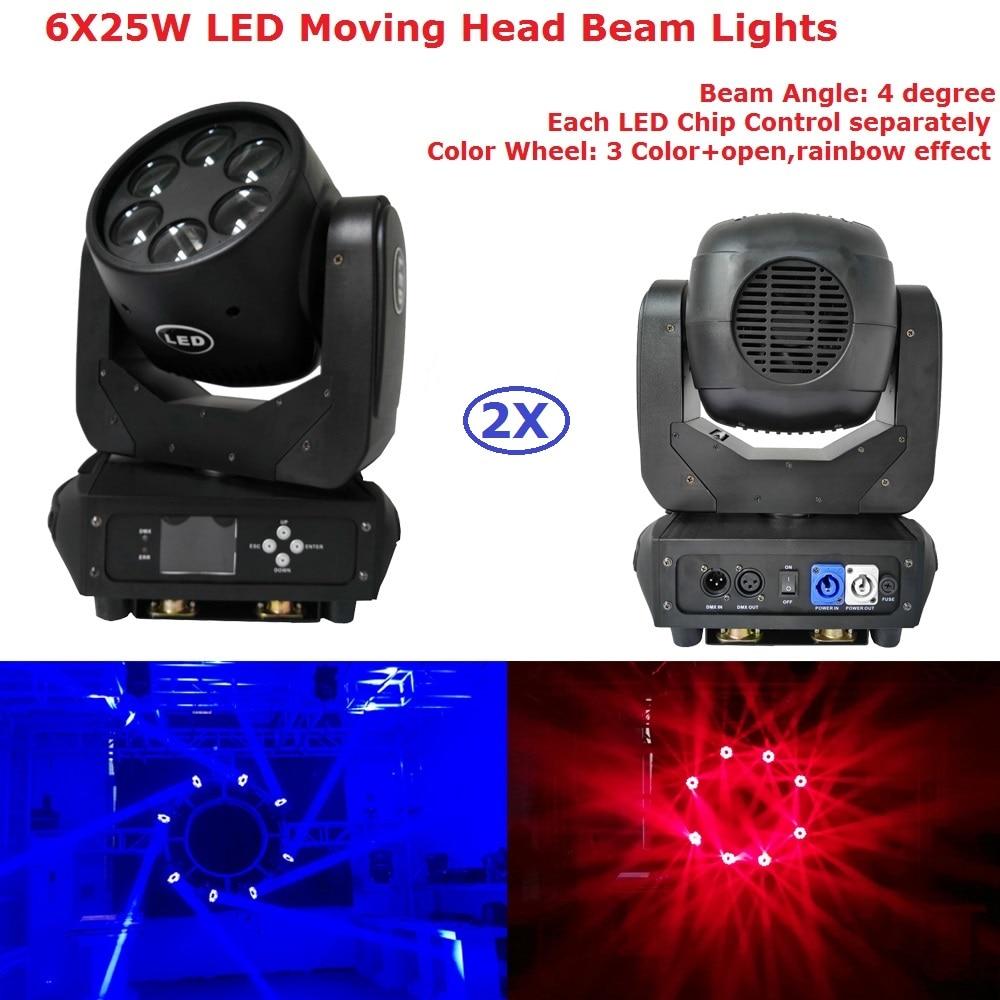 2Pcs/Lot Factory Price 6X25W White LED Moving Head Beam Lights Stage Effect DJ DMX Disco Luces Discoteca Strobe Party Lights