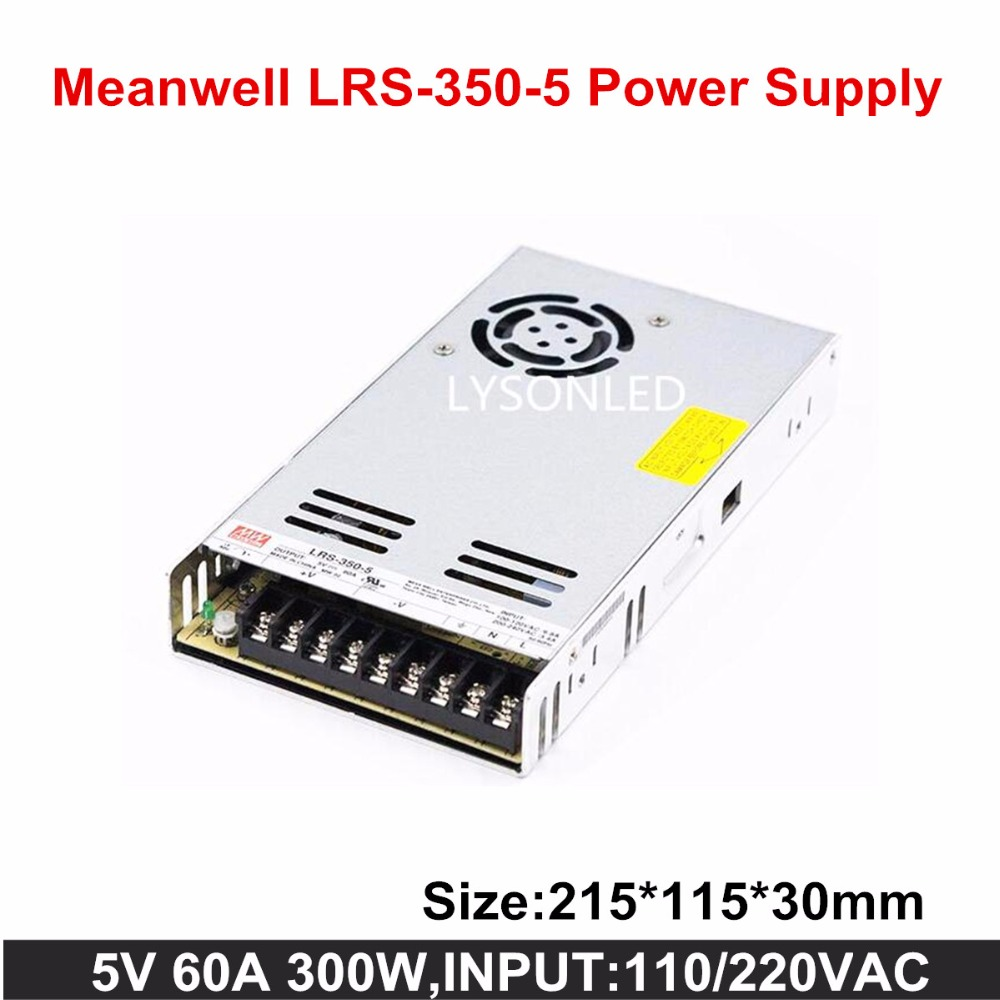 Taiwan MeanWell Slim LRS-350-5 Switching Power Supply, 350W  Slim LED Display Power Supply 5V60A (AC Input 100~240V)