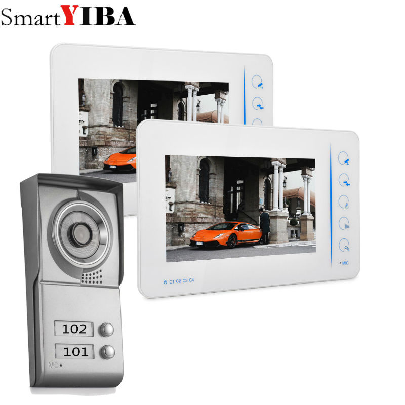 SmartYIBA 2 Unit Apartment Video Intercom New Wired 7 inch Video Door Phone Intercom Entry System 2 Monitor Apartment intercom