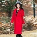 Женщины Китайский Красный С Длинным Рукавом Животных Вышивка Шерсть Кардиган Осень-Зима Длинные Пальто Шанца Классический Лацкане Свободно Случайные Пальто
