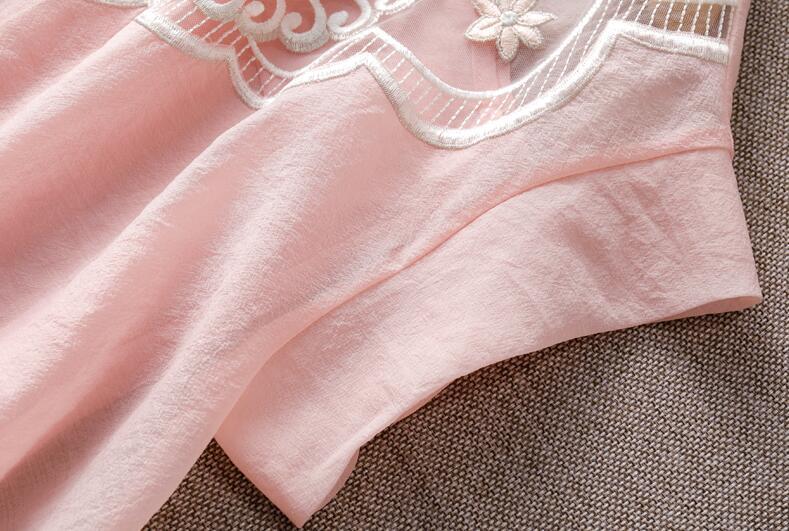 D'été broderie ChiffonPink/blanc femmes chemises la manches chauve-souris lâche deux pièces tenue mode dame blouse à manches courtes S-XL - 6