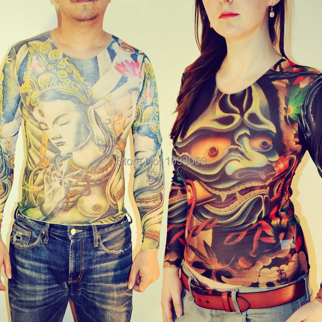 Tattoo t shirt tee top long sleeve costume 38 patterns for Tattoo sleeve shirts for women
