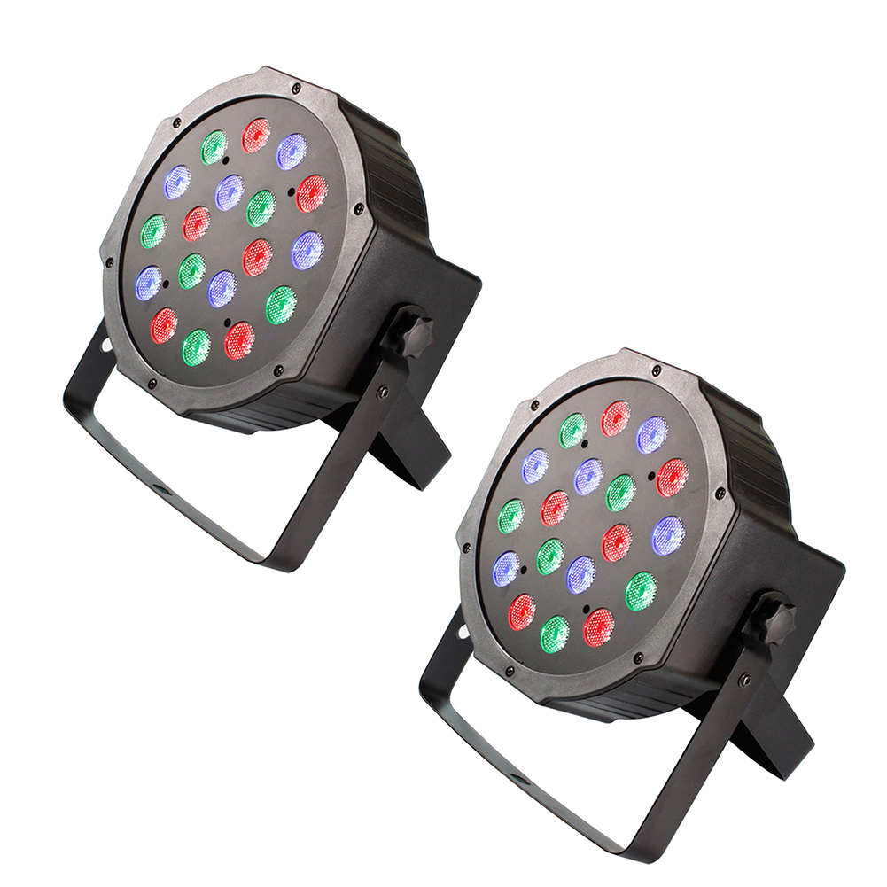 Professional LED Stage Lights 18 RGB LED DMX Stage Lighting Effect DMX512 Master-Slave Led Flat for DJ Disco Party KTV IR Remote