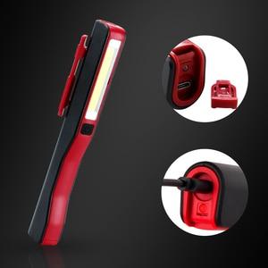 Image 5 - USB şarj LED el feneri COB şarj edilebilir manyetik kalem lambası el feneri çalışma ışığı kamp fener fenerler için taktik gece lambası