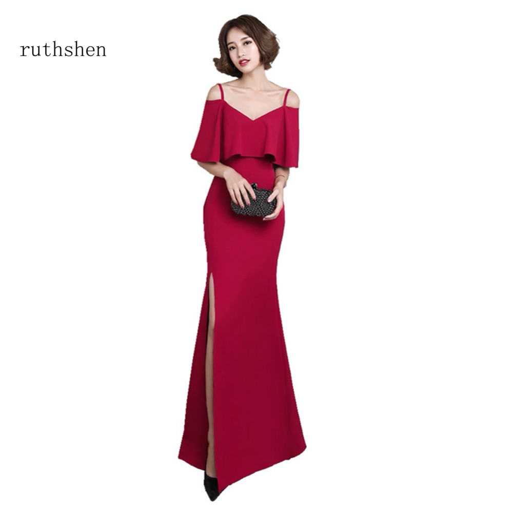 ruthshen Real Photos Mermaid Black Red Blue Long   Evening     Dress   Cheap Special Occasions Short Sleeves In Stock For Women 2018