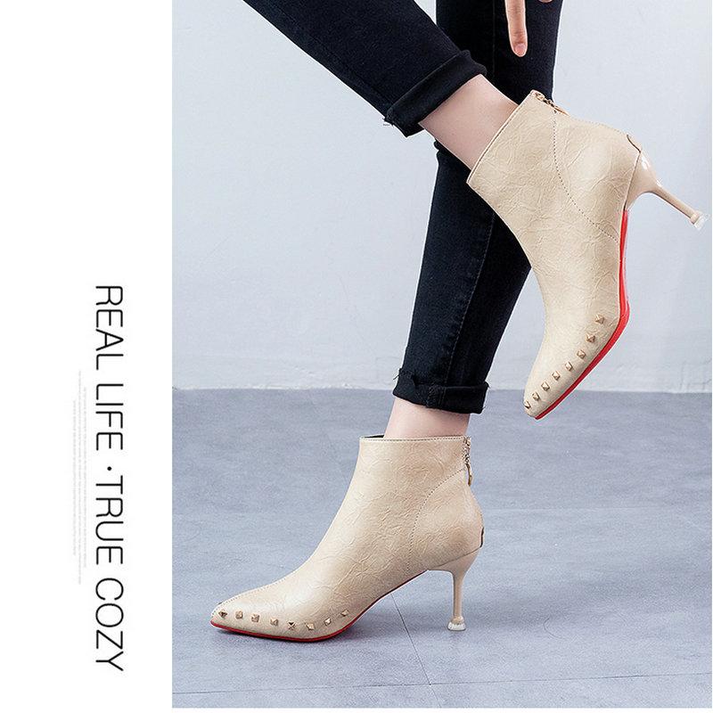Cremallera De otoño negro Remache Dedos Primavera Tobillo Nueva Sólido Beige Mujer 2019 Los Llegada Atemporal Zapatos Señaló Botas Talones Pies Rqw6nfzx