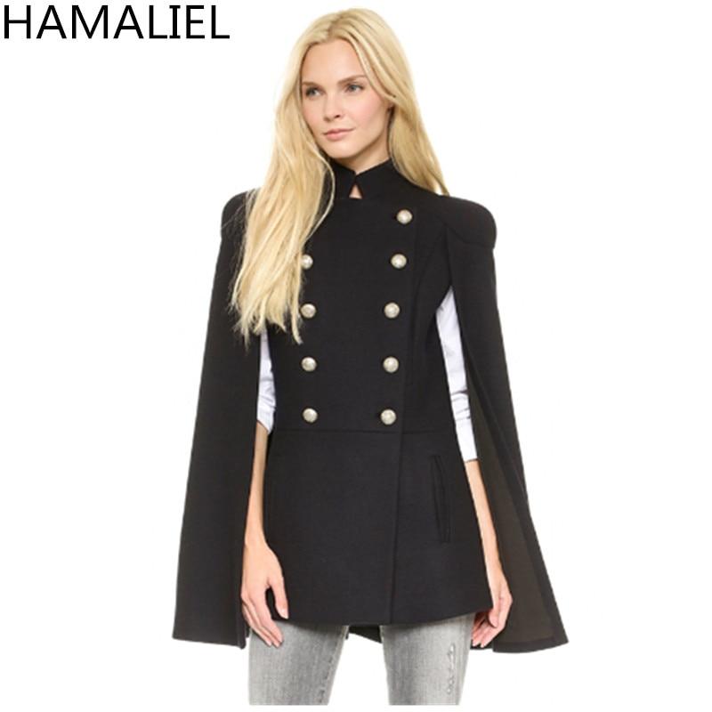 HAMALIEL, европейский стиль, женская накидка, шерстяное пальто, новинка, зимняя, черная, двубортная, стоячий воротник, Женский Тренч, верхняя одежда - Цвет: Черный