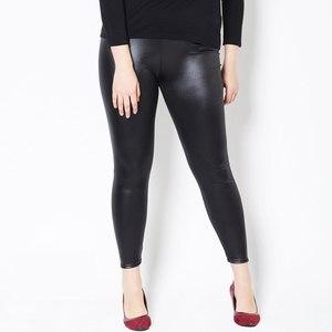 Image 1 - Leggings Vrouwen Nep Lederen Plus Size 5xL Grote Maten Vrouwen Hoge Taille Grote Slanke Legging Femme Stretch Skinny Broek Zwart leggins