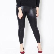 Leggings de couro falso feminino, tamanho grande 5xl cintura alta justo stretch calças pretas leggins