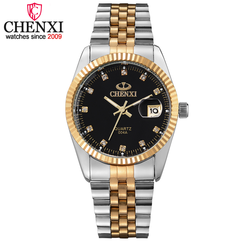 Chenxi Luxury Brand Men Business Watch Men's Stainless Steel Date Hour Gold Wristwatch for Male Quartz Clock Waterproof Watches
