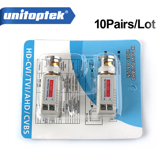 10Pairs Twisted BNC CCTV Video Balun Passive Transceiver Cat5 CCTV ...