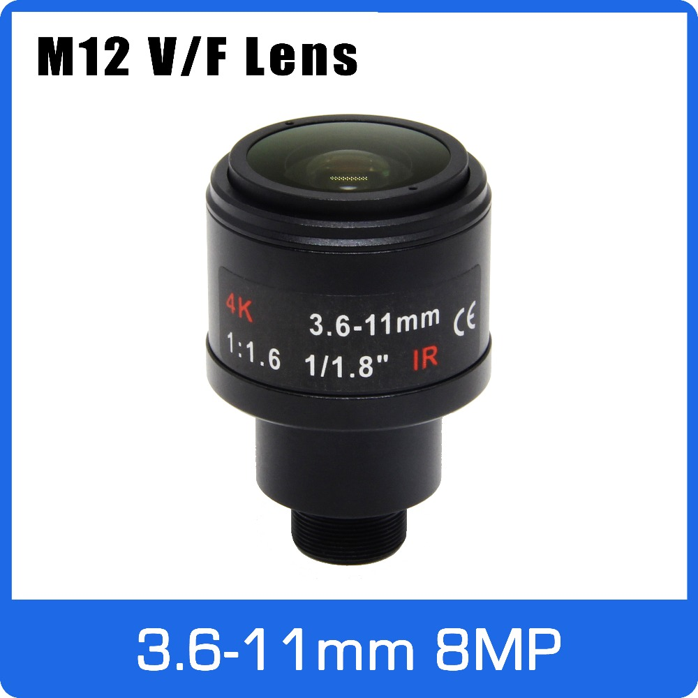 8Megapixel M12 Mount Varifocal 4K Lens 1/1.8 Inch 3.6-11mm Manual Focus And Zoom For IMX274/IMX178/IMX334/OS08A10 CCTV IP Camera