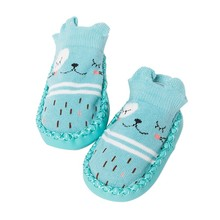 Baby Cartoon Socks With Rubber Sole Prewalker Soft-soled Sho