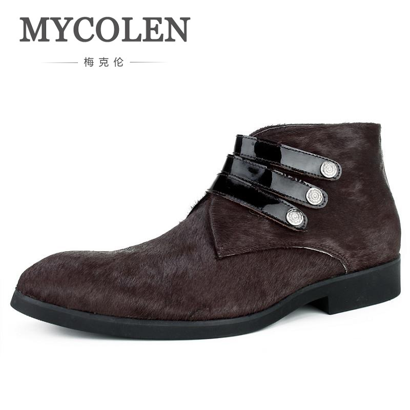 MYCOLEN New Fashion Mens Casual Ankle Boots Warm Fur Elastic Band Winter Shoes High Quality Sewing Shoes Botas MasculinaMYCOLEN New Fashion Mens Casual Ankle Boots Warm Fur Elastic Band Winter Shoes High Quality Sewing Shoes Botas Masculina