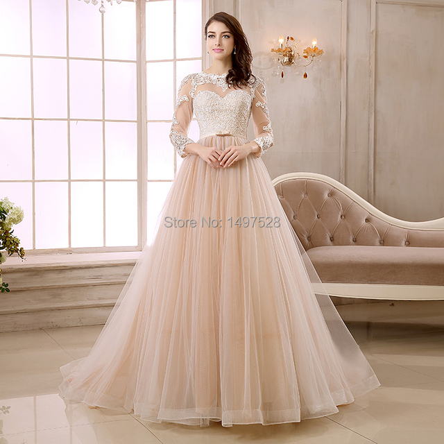 Champagne Color Full Long Sleeve Deep V Back Lace Liqued A Line Pleat Skirt Wedding