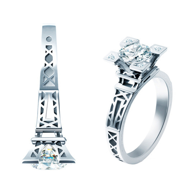 Romantic Real 925 Sterling Silver French Champs Elysees Kiss Paris Eiffel Tower Engagement Wedding Rings For Women Jewelry
