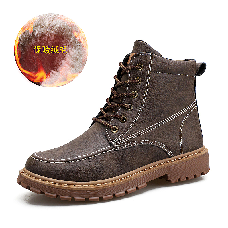 cbd243bb46e YRRFUOT Men s Outdoor Martin boots Winter Comfortable Keep warm work shoes  High Quality on-slip high leather shoes Fashion Flats