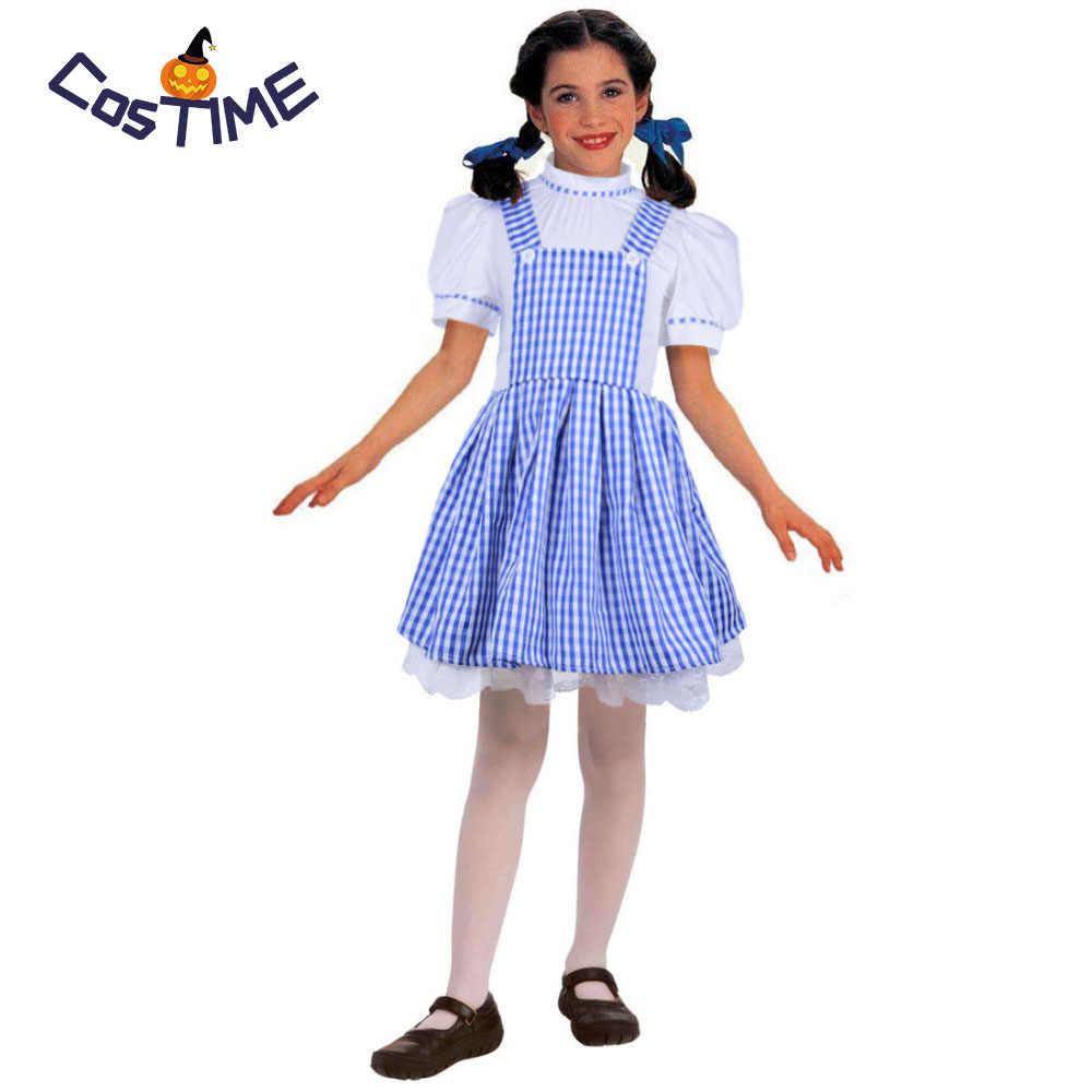 7ba117aed05 Little Dorothy Costume Kids Girls Blue Gingham Plaid Dress Suspender Skirt  Fluffy Dress Fairytale Dorothy Wizard Of Oz Costume