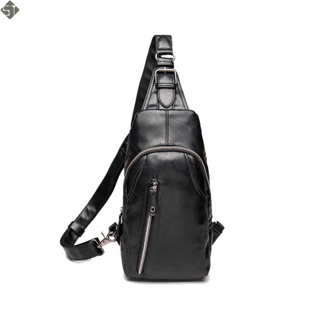 c663b463a017 FUSHAN Новый Для мужчин сумка Для мужчин груди пакет один плечевой ремень  обратно Сумка кожаная дорожная