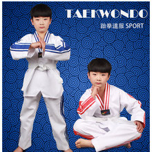 Adult Man Women child kids Breathable cotton Taekwondo uniform Approved Clothing training dobok clothes add 1 belt A