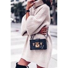 Ordifree suéter de punto de gran tamaño para mujer, Jersey de punto grueso, cálido, informal, holgado, de cuello alto, 2019